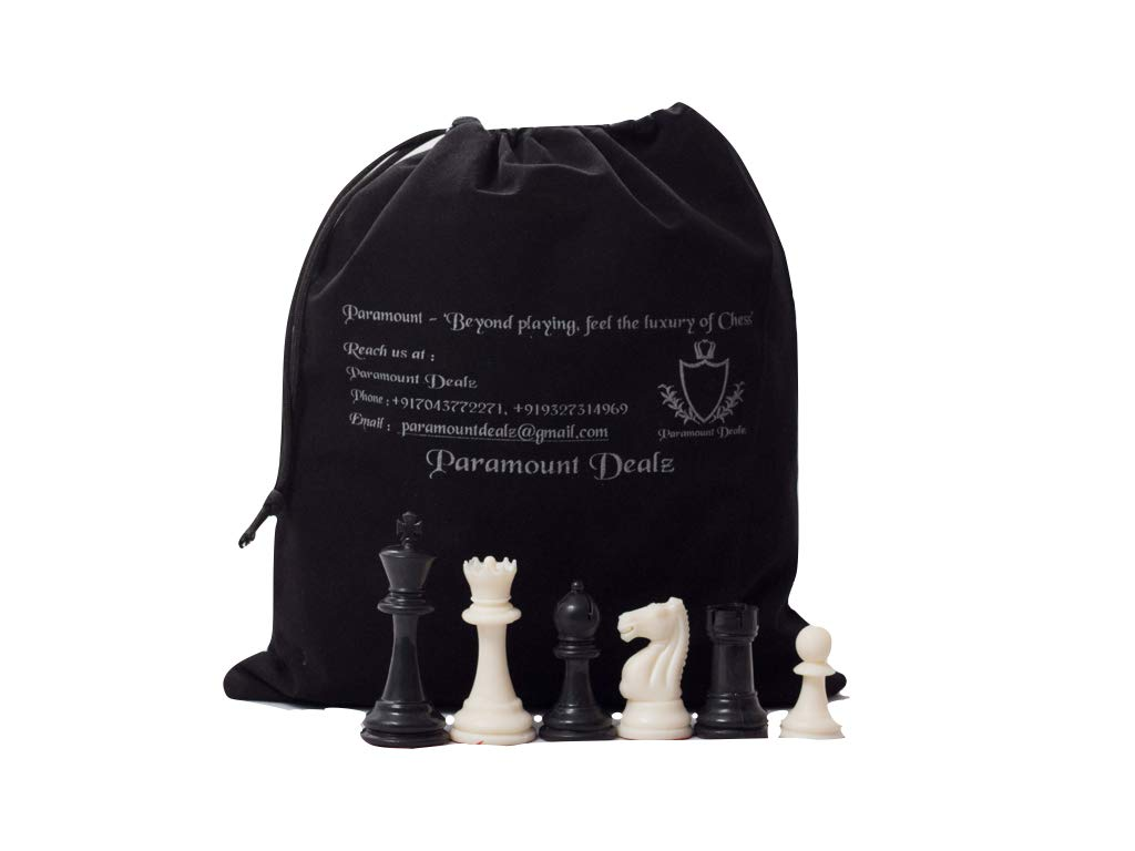 Plastic 4Inches King Height Fide Standard Professional Tournament Staunton Chess Pieces with 2 Extra Queens, Carry Pouch