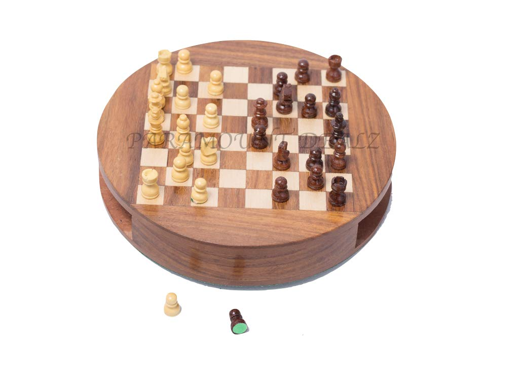 """Premium Wooden Handcrafted 7"""" Drawer Chess Set with Magnetic Pieces (7 Inches)"""