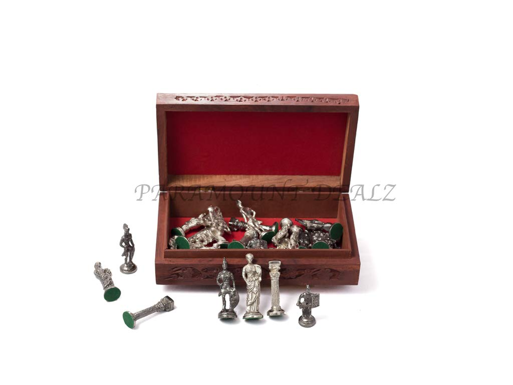 Paramount Roman Brass Metal Chess Pieces Men Set - Best for Decorative and Gifting Purpose(Without Board). (Silver & Black) (Copy)