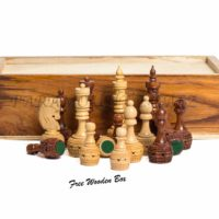 "The ""Paramount Dealz"" hand crafted Carving Chess Pieces has a sense of style befitting a royal place in a royal palace. This richly detailed wooden chess men has intricately carved wooden designs in the elegant finish. Dimension of chess pieces : King is almost 3.5"" high. As it can be seen in the picture, other Pieces are in proportion to King's Height. Also, wooden box is provided along with to store the pieces safely. About Paramount Dealz: Specializing in retail and online merchants. For many years, the team has travelled the world to find and supply the finest in chess and other traditional games, as well as some exotic and not so traditional games. Paramount Dealz commitment to excellence has helped it become a leader in world import markets."