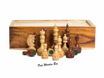 """The """"Paramount Dealz"""" hand crafted Carving Chess Pieces has a sense of style befitting a royal place in a royal palace. This richly detailed wooden chess men has intricately carved wooden designs in the elegant finish. Dimension of chess pieces : King is almost 3.5"""" high. As it can be seen in the picture, other Pieces are in proportion to King's Height. Also, wooden box is provided along with to store the pieces safely. About Paramount Dealz: Specializing in retail and online merchants. For many years, the team has travelled the world to find and supply the finest in chess and other traditional games, as well as some exotic and not so traditional games. Paramount Dealz commitment to excellence has helped it become a leader in world import markets."""