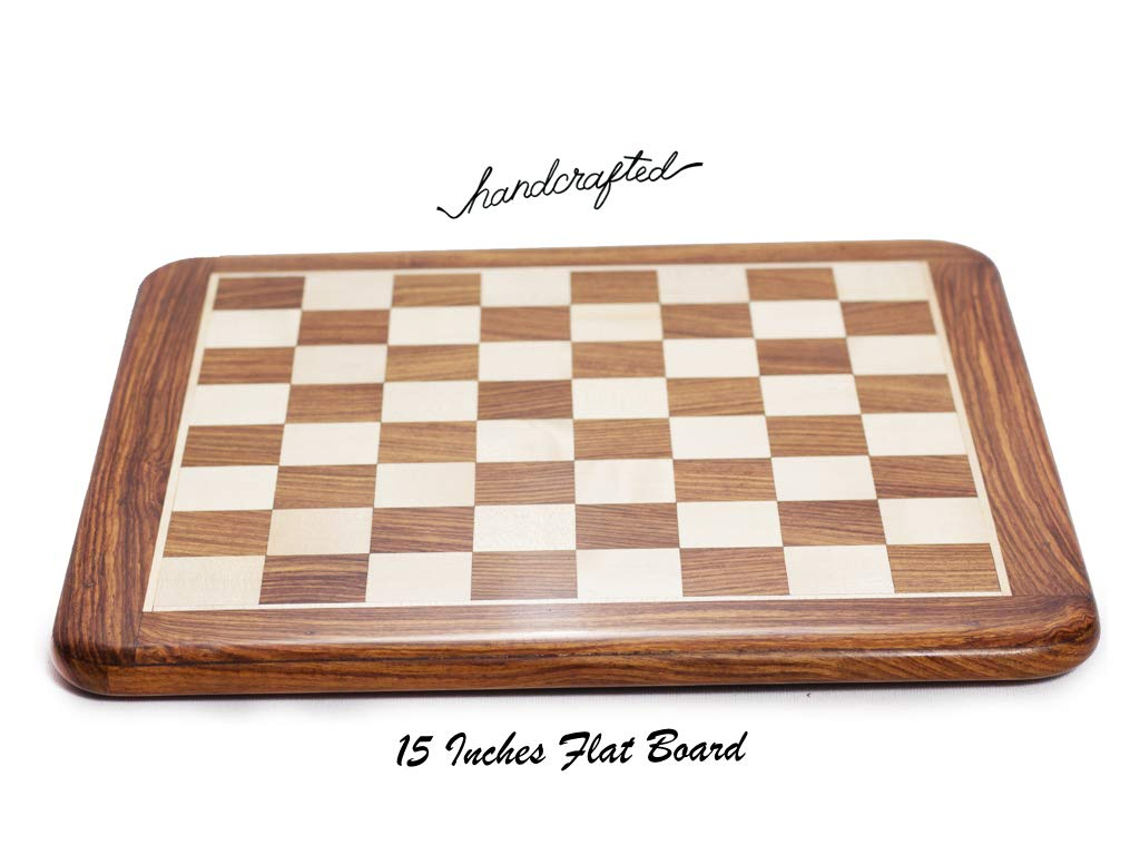 Hand Crafted Wooden Inlaid Carving Chess Set with 16 inches Wooden Flat Chess Board & Wooden Box