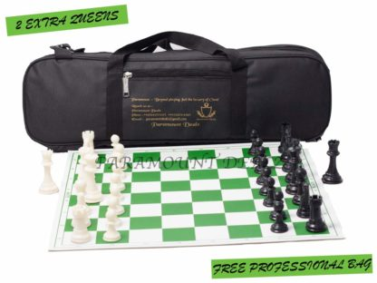 Professional Plastic Vinyl Chess Set with 2 Extra Queens and Bag (Green with Black Bag, 20 x 20-Inch)