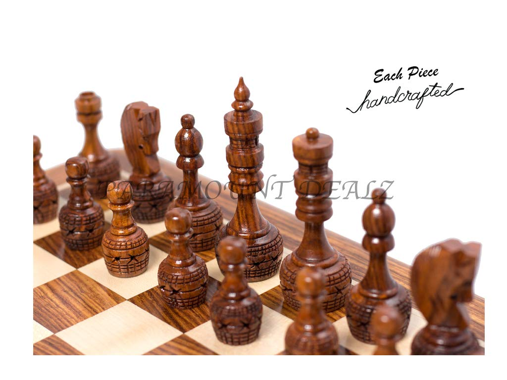 Hand Crafted Carving Chess Pieces with Chess Wooden Box - Best for Gifting & Home Decor (Without Chess Board)