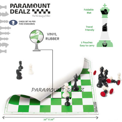 FIDE Standard Vinyl Chess Set with 2 Extra Queens & Chess Bag (available in 17 Inches and 20 Inches) - 3 Colors (Green, Blue and Black) (Copy)