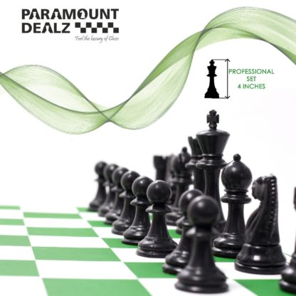 FIDE Standard Vinyl Chess Set with 2 Extra Queens & Chess Bag (available in 17 Inches and 20 Inches) - 3 Colors (Green, Blue and Black)