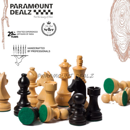 3.75 Inch King Height-Collector Edition Wooden Chess Pieces set -  Yellow Black color (Staunton Pieces/Drawstring pouch)