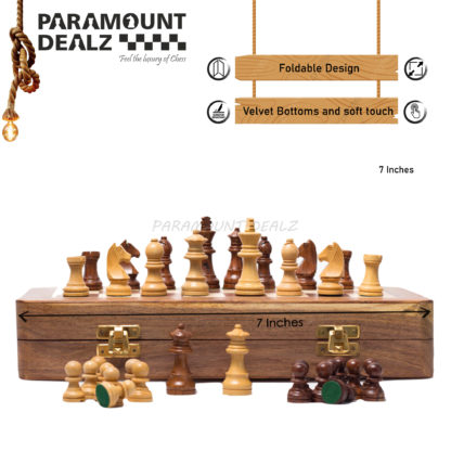 """7"""" x 7"""" Wooden Magnetic Chess Game Board Set with Wooden Crafted Pieces/Free Pouch"""