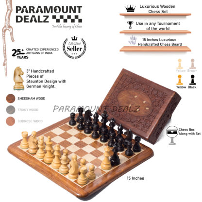 """Hand Crafted 15"""" Chess Board with wooden handcrafted chess pieces"""