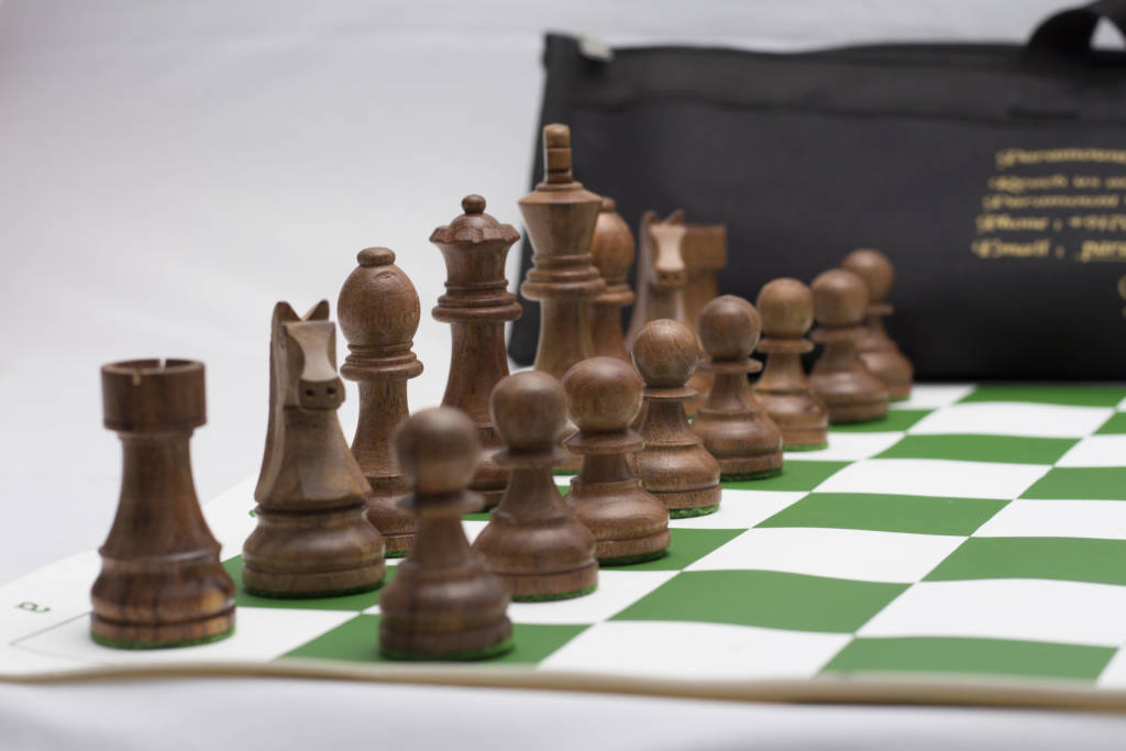 A board showcasing the different pieces in the Game of Chess.