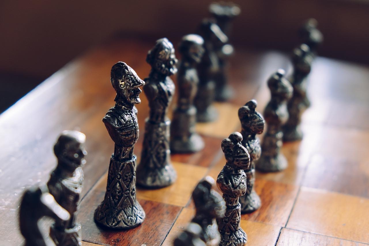 metallic chess sets