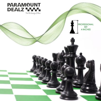 FIDE Standard Vinyl Chess Set with 2 Extra Queens & Grand Master Edition Chess Bag, Scorebook & Metallic pen (available in 17 Inches and 20 Inches chess board) - 3 Colors (Green, Blue and Black)