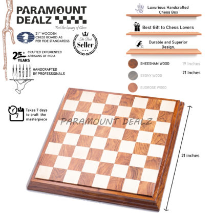 Raised face wooden luxury chess board