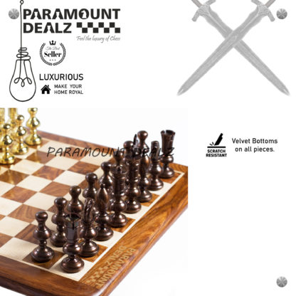 Castle Series Handcrafted Brass Chess Set (FLAT Wooden Sheesham Board with Solid Brass Chess Set) - Best for Chess Enthusiasts and Gifting purpose