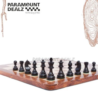 """Grand Master Edition 21 inches Wooden chess board (Sheesham wood & Maple wood) with 3.75"""" wooden chess pieces and drawstring Velvet chess pouch(Must buy for chess players)"""