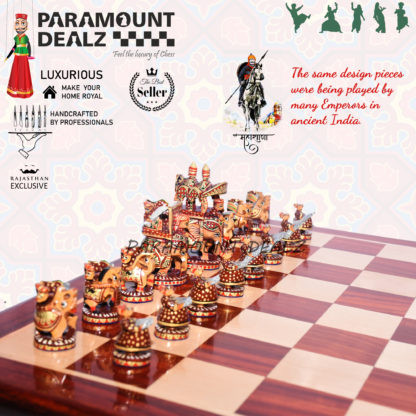 Royal Maharaja Handcrafted Chess Set with 21 Inches Sheeshamwood Chess Board; Perfect chess set for every home