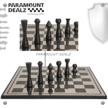 St. Petersen styled Aluminium Chess Set - Best for chess enthusiasts and players (Silver & Black)