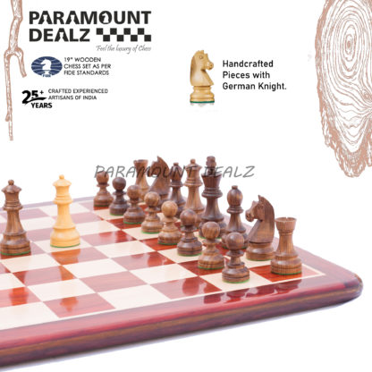 Petrick Budrosewood Chess Set with wooden handcrafted Yellow/Brown chess pieces