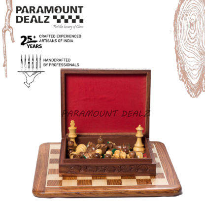 Flat Wooden Chess Board with Staunton style wooden chess pieces and Velvet Chess Pouch - Best for chess enthusiasts