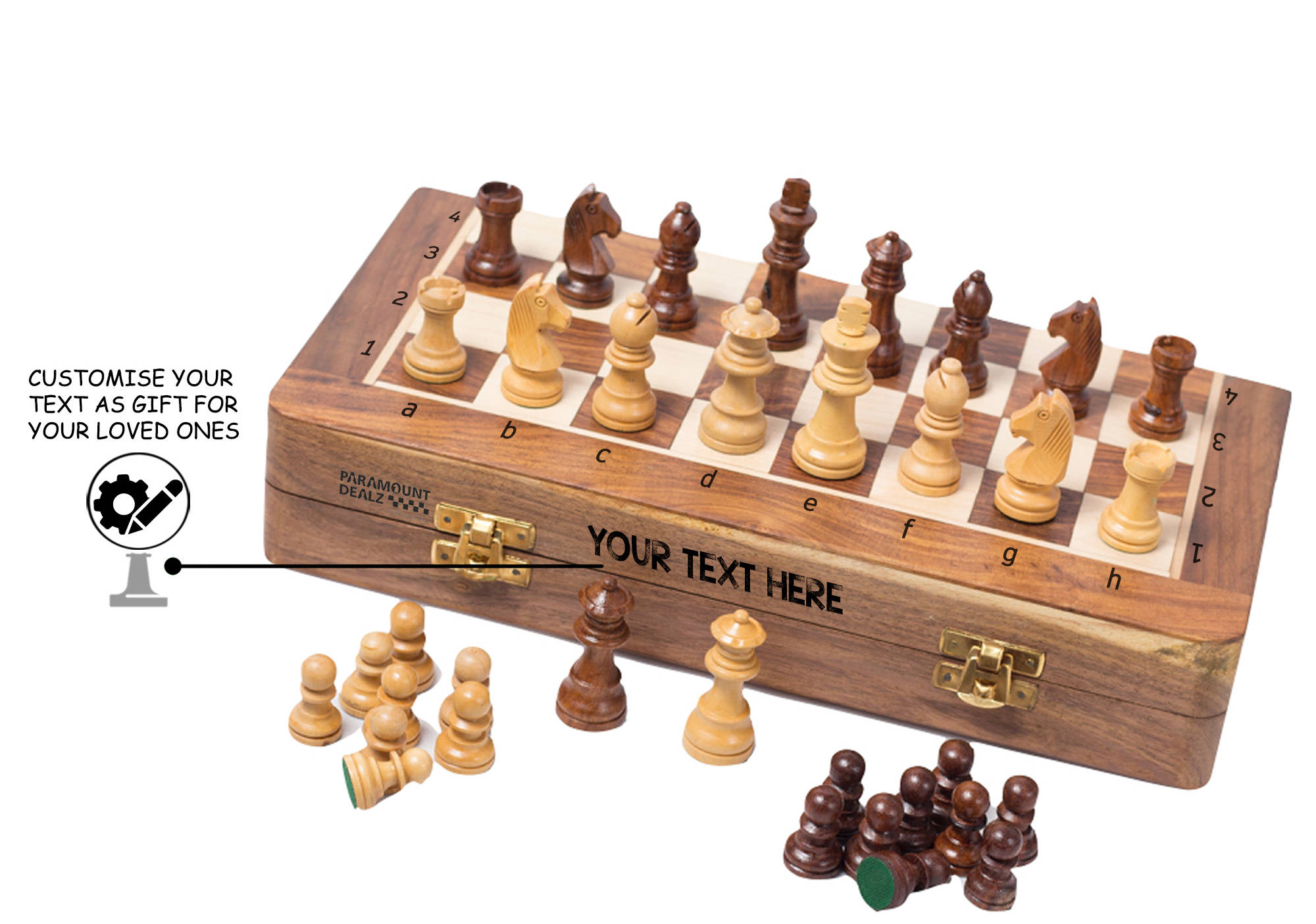 Personalized Gift for him - Wooden Chess Set + Coffee Mug