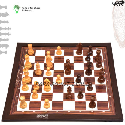 """21"""" Wooden Laminated Chess board with 3.75"""" Wooden Chess pieces"""