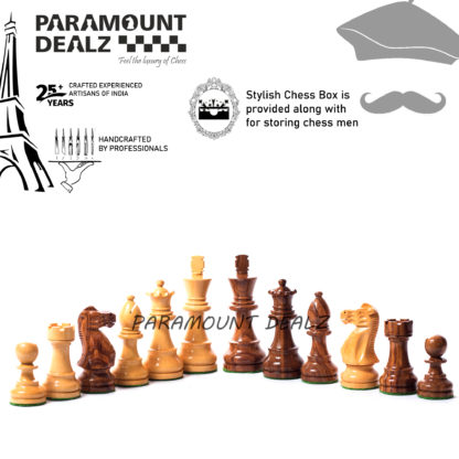 """Single Staunton Series Wooden weighted Chess Pieces in Sheesham & Box Wood - 3.75"""" King"""