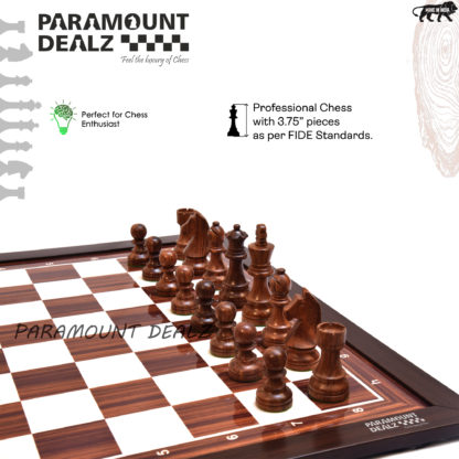 """21"""" Wooden Laminated Chess Board with 3.75"""" Wooden Staunton Weighted Chess Pieces & Velvet Pouch (Add On: Wooden Chess box & Hydraulic Stand)"""