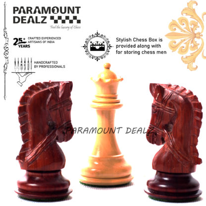 """Bridle Series Wooden weighted Chess Pieces in Bud Rose & Box Wood - 3.5"""" King"""