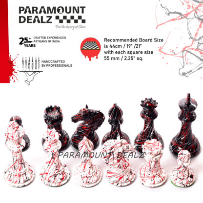 Splash painted Luxury horse Series Wooden weighted Chess Pieces in Box Wood - 4.5 King