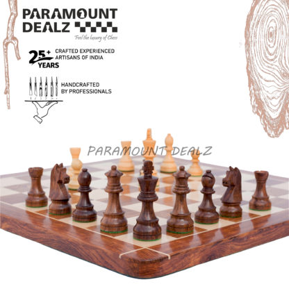 Grand Master Edition 21 inches Wooden chess board (Sheesham wood & Maple wood) with 3.75″ wooden chess pieces and drawstring Velvet chess pouch/Chess Box and Chess Stand(Must buy for chess players)