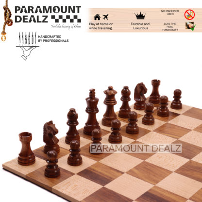 """12.6"""" Solid Wood Roll Up Travel chess board in Indian Rosewood & Maple Wood- 40 mm square & Chess Bag"""