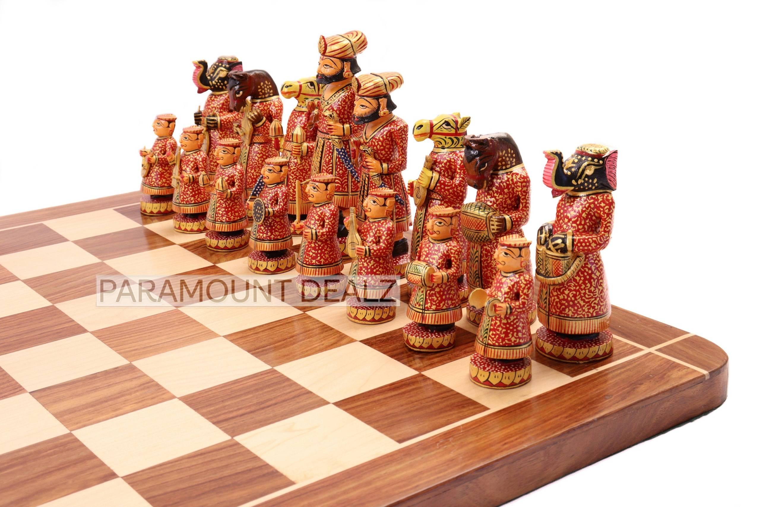 """WOODEN INDIAN CHESS 6"""" Musical Theme Wooden Chess Board with Chess Pieces and Chess Box - Golden Rosewood Handcrafted Chess Board Set"""