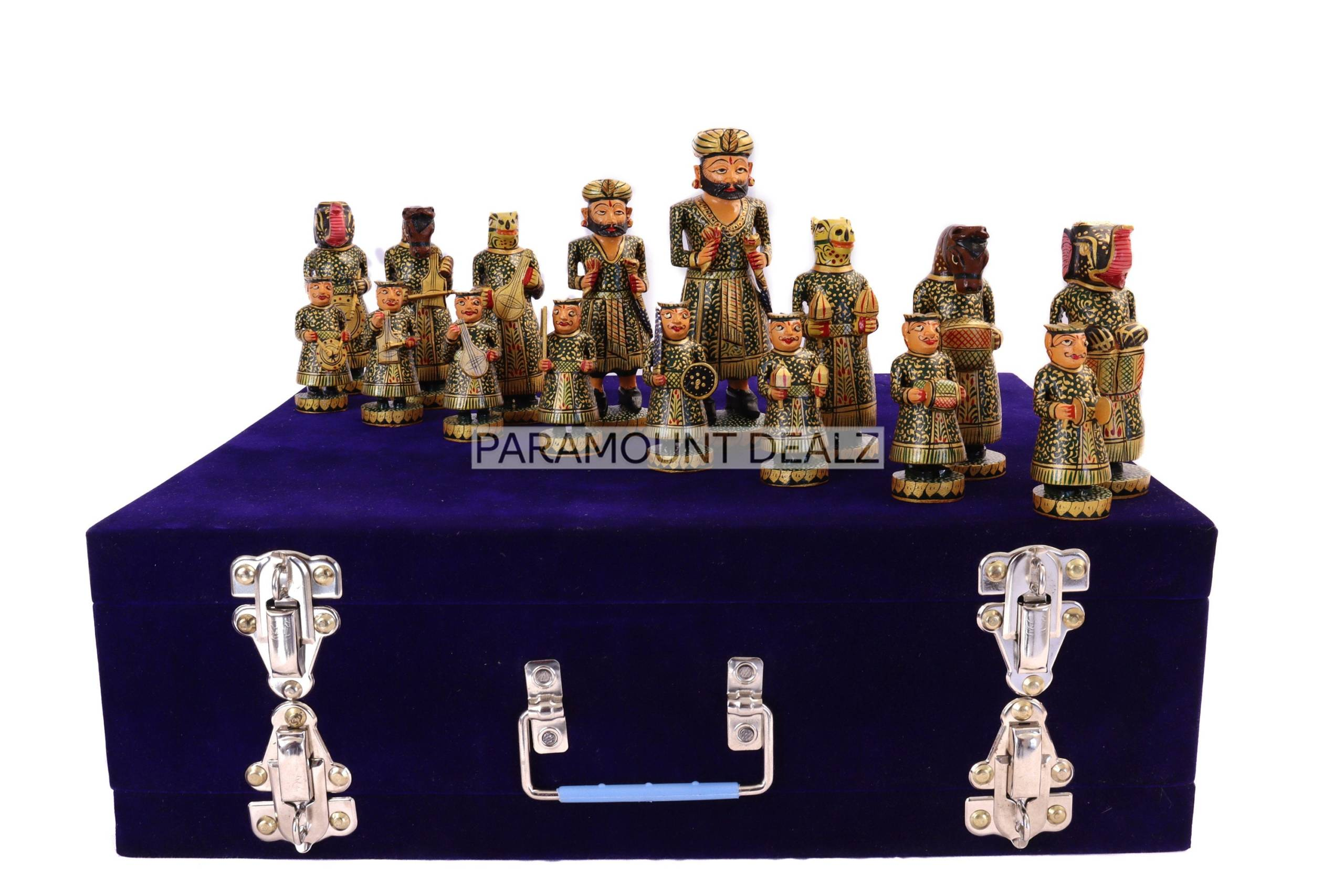 """Wooden Indian Musical Theme Chess Broad Pieces - 6"""" Handcrafted Chess Pieces Set   Includes Wooden Chess Pieces and Box   Perfect Gifting for All Occasions"""