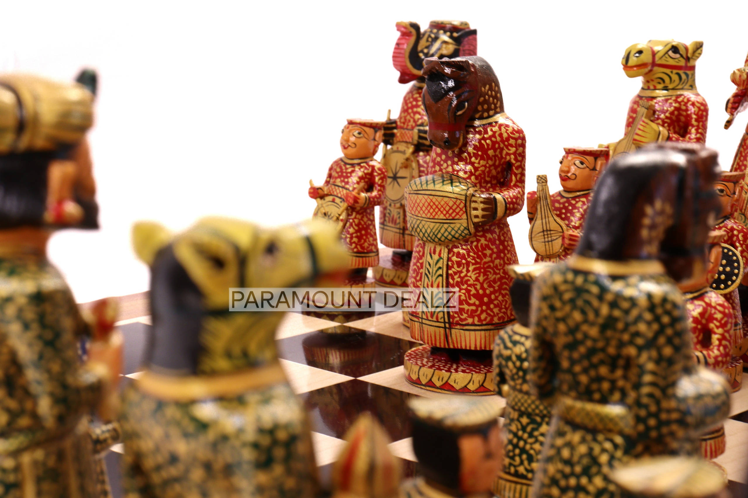 """Wooden Indian Musical Theme 6"""" Chess Set - Handcrafted Chess Board with Chess Pieces and Box   Golden Rosewood Board for Kids and Adults"""