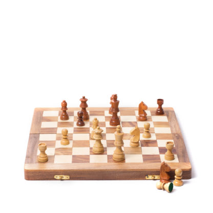 """16"""" x 16"""" Wooden Folding Chess Game Board Set + Wooden Chess Pieces (Large Size)"""