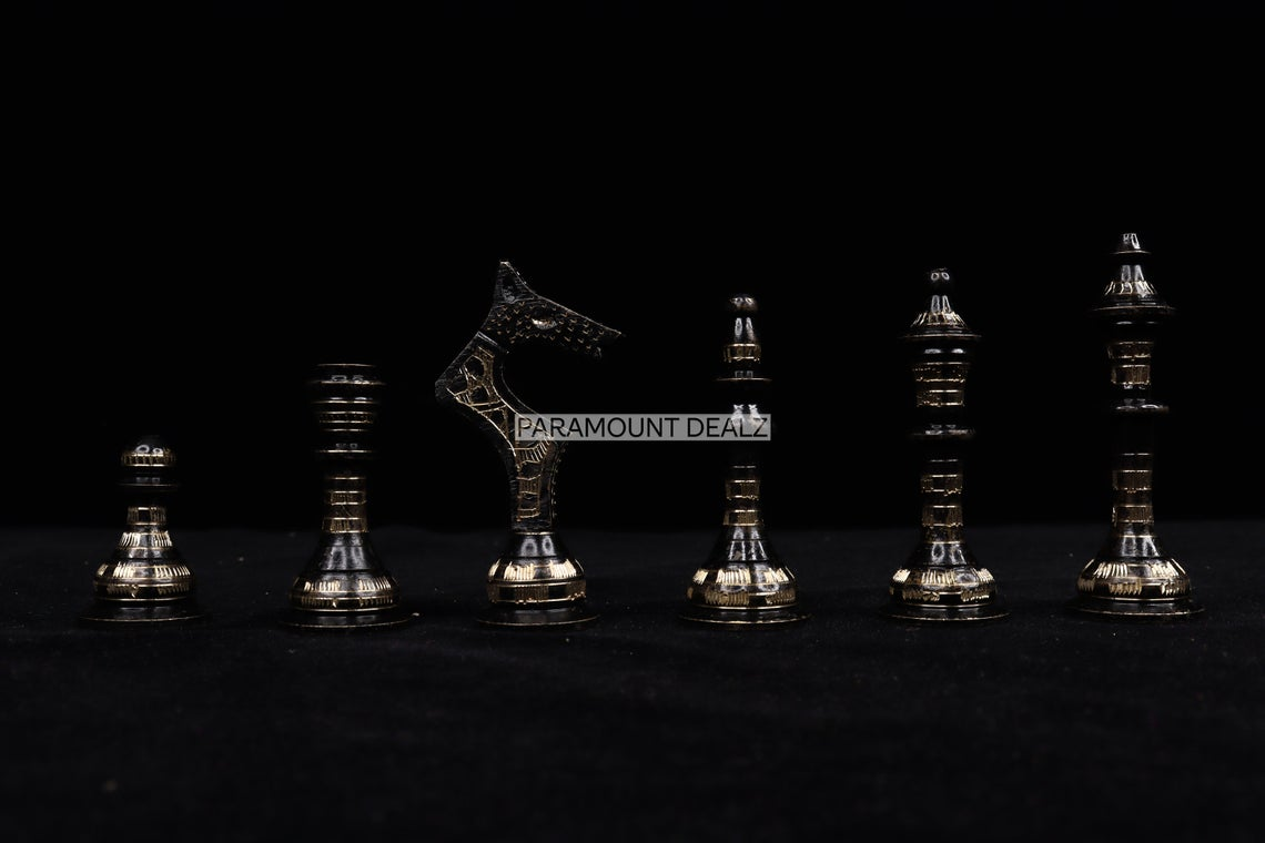 """Paramount Dealz Luxurious 14"""" Chess Board with Chess Pieces and Wooden Chess Box - Handmade from Brass and Metal"""