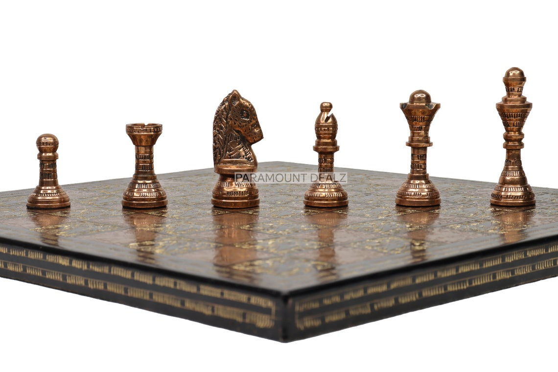 """Paramount Dealz Handcrafted Metal 12"""" Chess Board with Chess Pieces and Chess Box 
