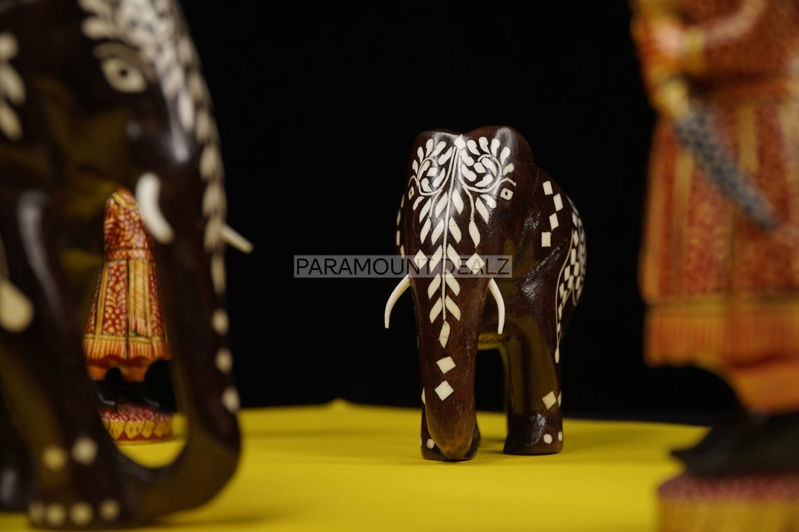 Paramount Dealz Vintage Large Carved Wooden Elephant with Bone Inlay Ornate | Perfect Home Decoration Animal Figurine | Suitable for Shelf Décor, Showcase and Vintage Collections