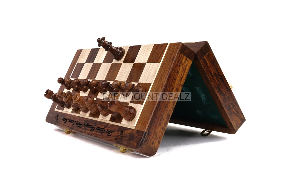 Paramount Dealz Personalized Quote Special Folding Wooden Chess Board Game Set with Magnetic Staunton Style Wooden Chess Pieces