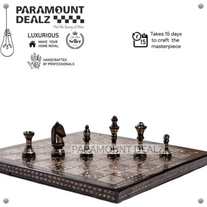 """Paramount Dealz Vintage Collection 12"""" Chess Board with Chess Pieces and Chess Box 