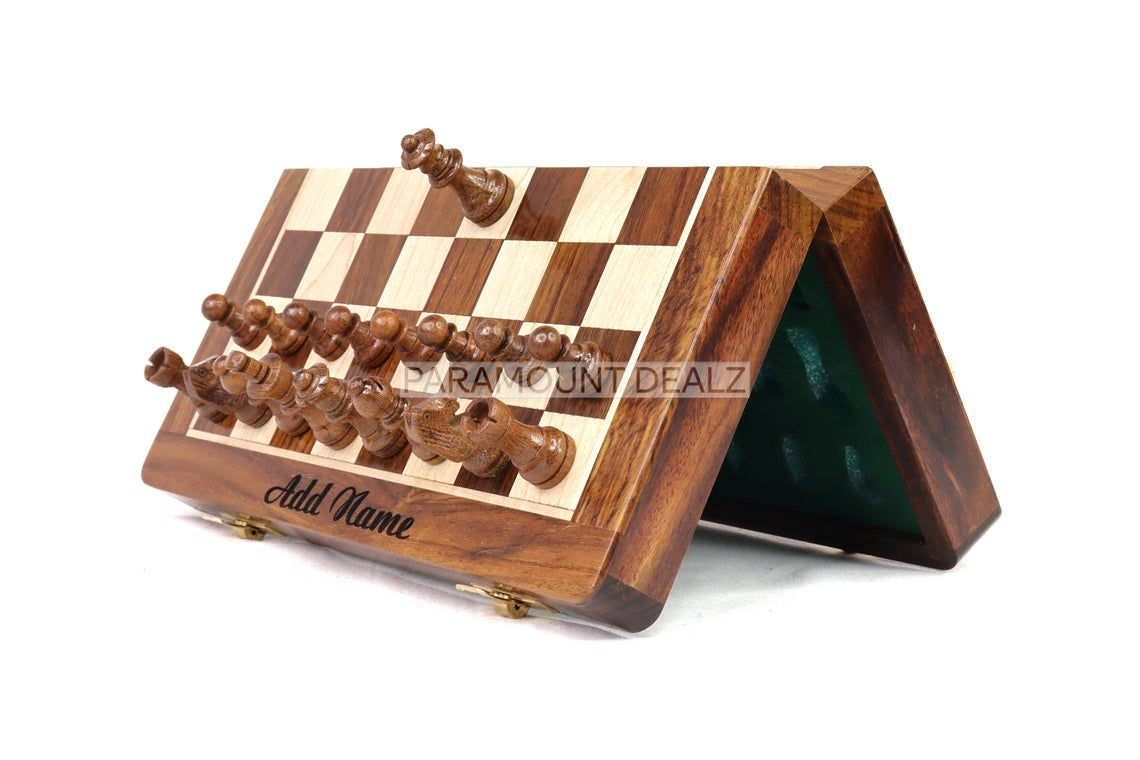 Pramount Dealz Happy Birthday Personalized Wooden Magnetic Chess Board Game Set - Best for Travel | Made from Golden Rosewood Hand Crafted with Staunton Pieces