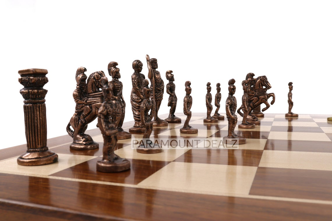 """Paramount Dealz Brass Chess Set Luxury Collection Handmade 21"""" Wooden Chess Board with Brass Chess Pieces and Handcrafted Chess Box - Gift Special   Made from Indian Rosewood, Maple Wood and Brass"""