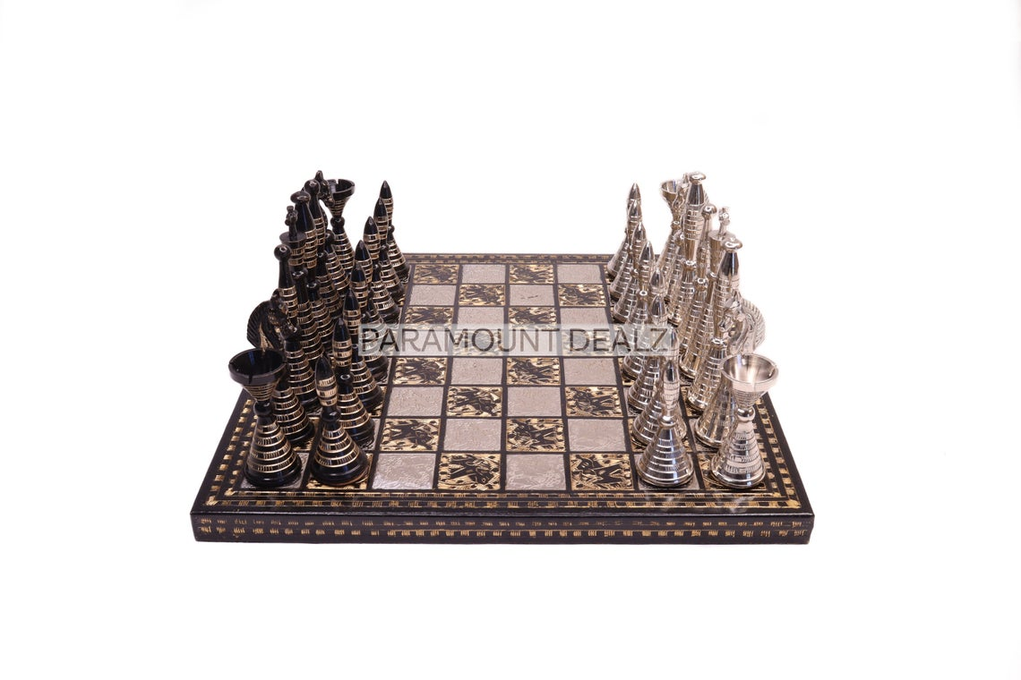 """Paramount Dealz Brass and Metal Handcrafted Chess Board Game Set - 14"""" Chess Board with Chess Pieces and Chess Box"""