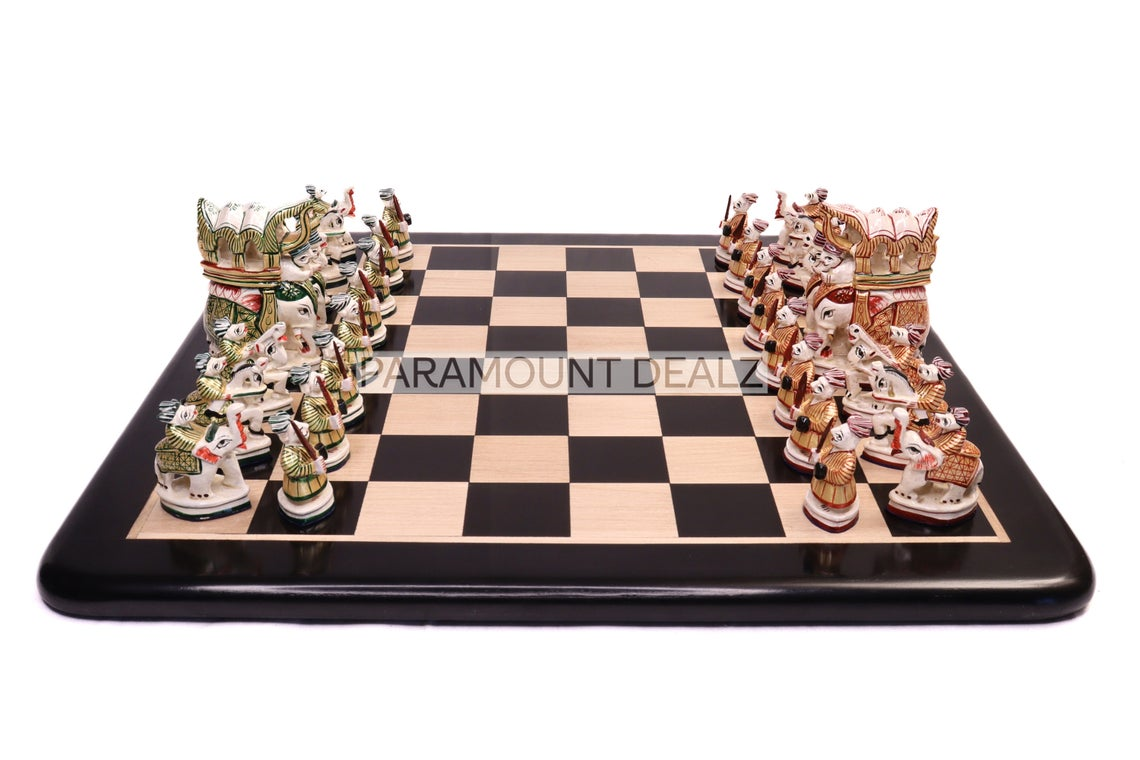 """Paramount Dealz Royal Maharaja Handmade Chess Board Game Set - 19"""" Wooden Chess Board with 4"""" King Size Height Maharaja Pieces and Chess Box"""