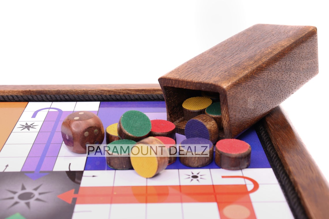 Paramount Dealz Magnetic Wooden Classic Handmade 2 in 1 Ludu King with Snake and Ladders Board Game - 10 Inches and 12 Inches