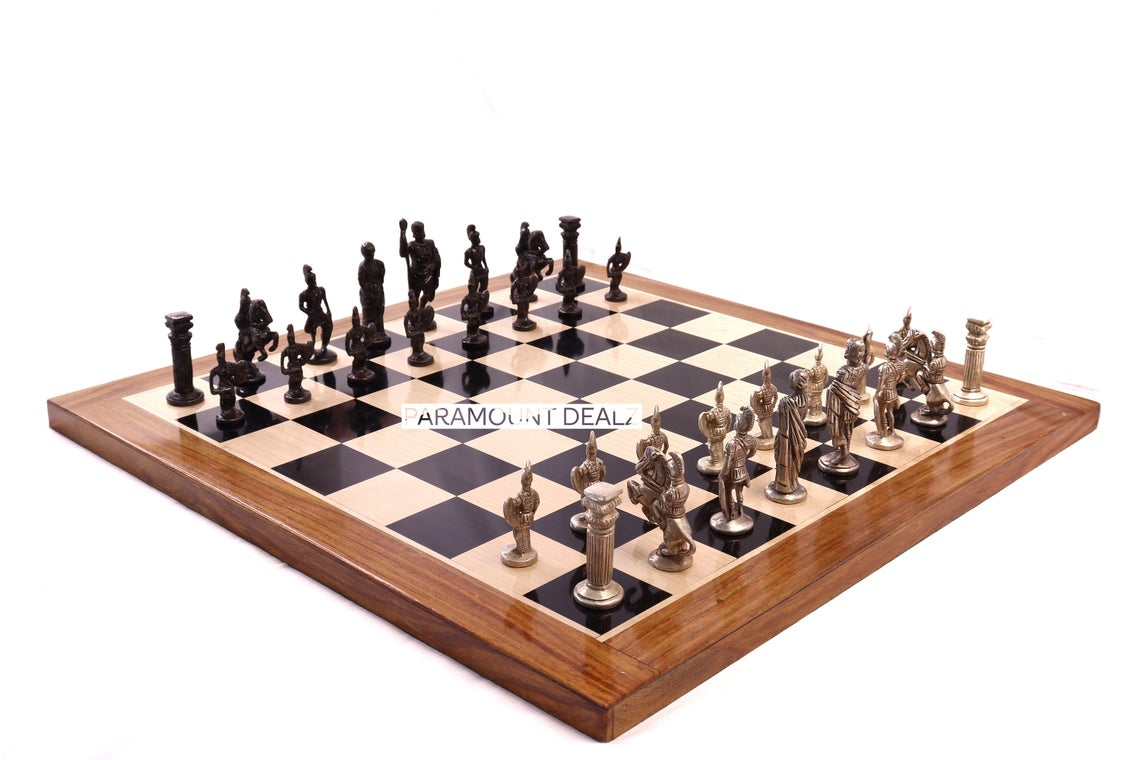 """Paramount Dealz Luxury Collection Wooden Chess Board Game Set - 19"""" Wooden Chess Board with 3"""" Roman Brass Chess Pieces and 1 Stylish Brass Inlaid Wooden Royal Chess Box for Storing Chess Men"""