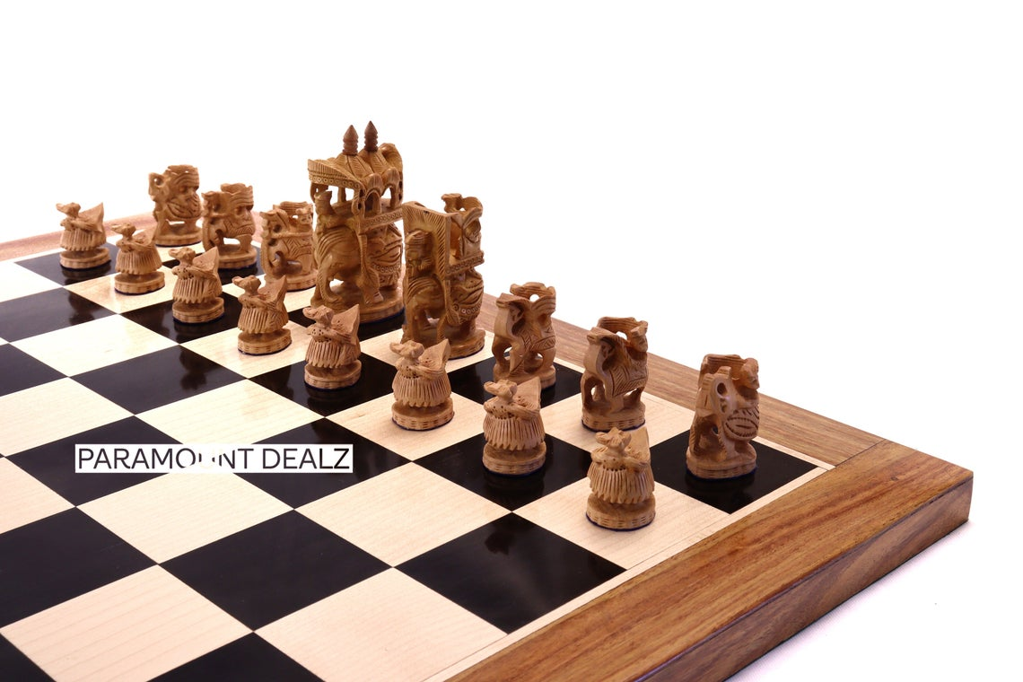 """Paramount Dealz Luxury Collection Wooden Chess Board Game Set - 19"""" Wooden Chess Board with 3"""" Royal Maharaja Chess Pieces and 1 Stylish Velvet Styled  Royal Chess Box for Storing Chess Men"""
