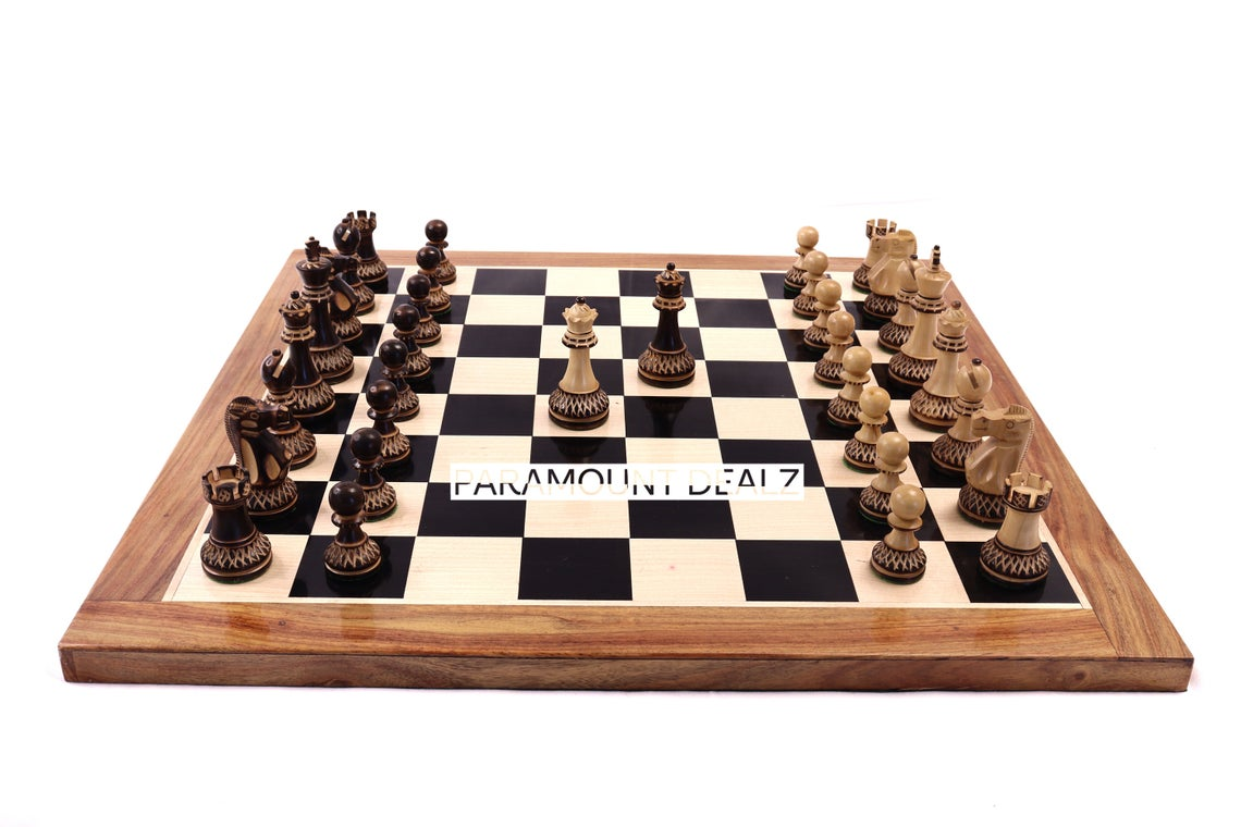 """Paramount Dealz Luxury Collection Wooden Chess Board Game Set - 21"""" Wooden Chess Board with 3.75"""" Parker Boxwood Burnt Chess Pieces with 2 Extra Queens and 1 Stylish Wooden Chess Box for Storing Chess Men"""