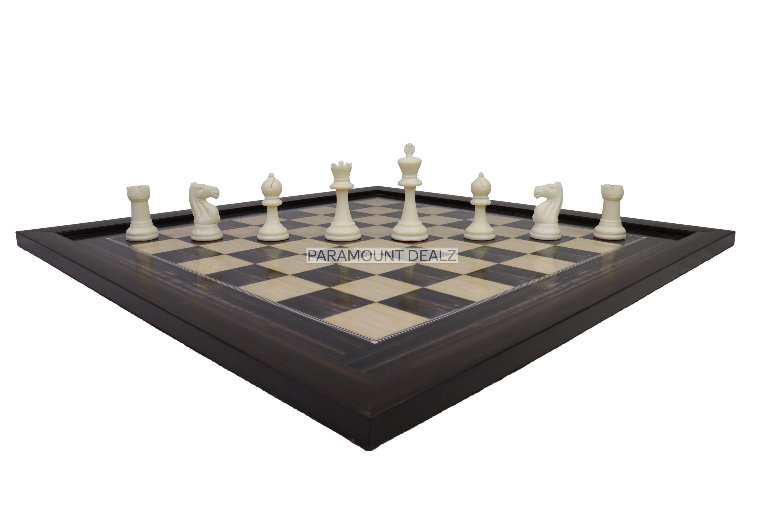 """21"""" Wooden Laminated Chess Board with 3.75"""" Staunton styled Plastic Chess Pieces & Velvet Pouch (Add On: Wooden Chess box & Hydraulic Stand)"""
