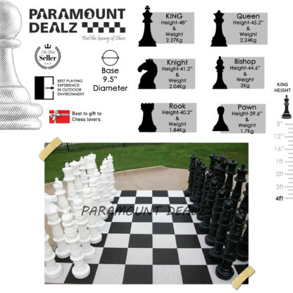 4 Feet (48 Inches) Plastic Giant Garden Chess Pieces Set  (Set of 32 pieces)